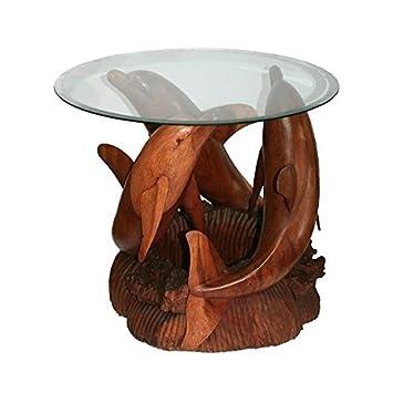 Table Basse Sculptee 3 Dauphins Sur Corail Hauteur 50 Cm Amazon