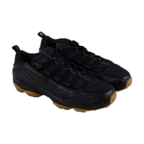 Reebok DMX Run 10 Gum Mens Black Leather Low Top Lace Up Sneakers Shoes 8.5