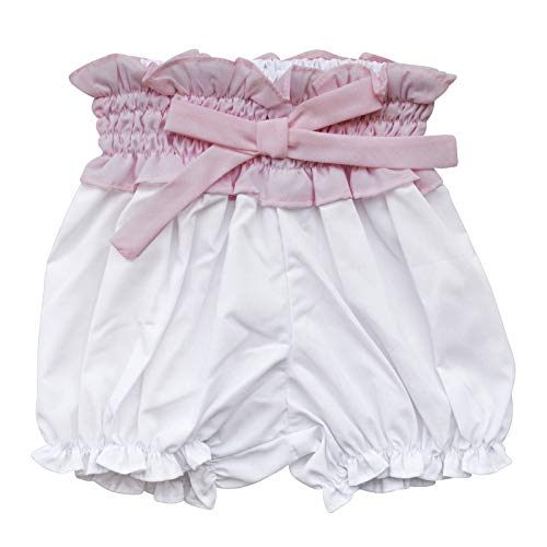 Carriage Boutique Baby Girl White Bloomer - White Short with Big Pink Bow and Elastic Waist, 9M (Designer Gowns Christening)