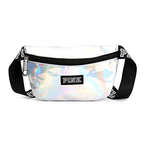 Womens Fashion Belt Focus (Homekit Unisex VS Pink Laser Letter Waist Belt Bag Fashion Sports Beach Travel Bags Waterproof Handbags Purses Outdoor Cosmetic Bag (sliver))