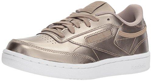 Reebok Unisex-Kids Club C Melted Metallic Sneaker, Gigi-Grey Gold/White, 3.5 Child US Big Kid