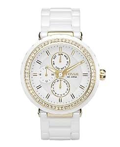 Fossil Women's FSCE1012 Ceramic White Dial Watch