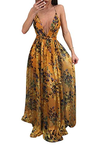 Remelon Womens Sexy Spaghetti Strap Deep V Neck Floral Boho Criss Cross Backless Chiffon Beach Party Long Maxi Dress Orange XXL