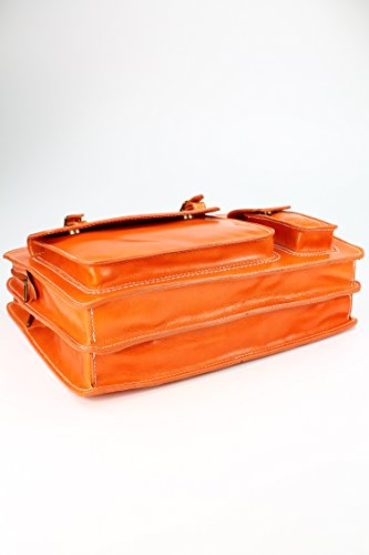 Belli® Design-Bag Voll Leder Echt Leder Businesstasche orange DIN A4 geeignet 39x29x11 cm (B x H x T)