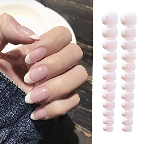 Sethexy 24Pcs French Nude Pink Glossy False Nails Wedding Ins Style Medium Press on Full Cover Fake Nails for Women and Girls