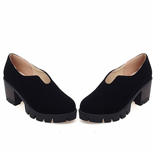 34fea18983a0 Latasa Women s Fashion Synthetic Nubuck Platform Mid Chunky Heel Slip on  Shoes lovely