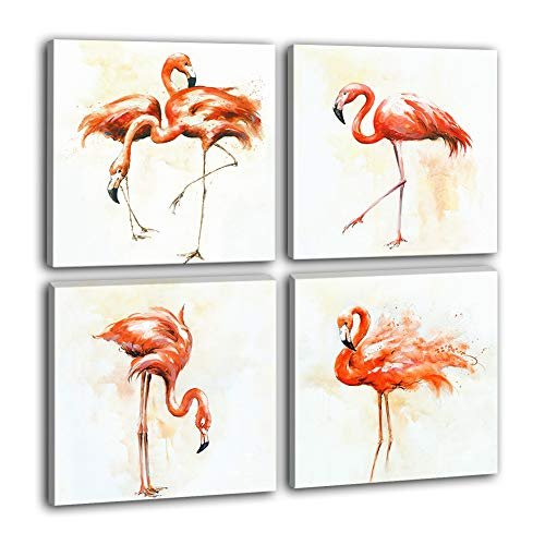 Hongwu 4 Piece Canvas Wall Art Flamingo Painting Modern Canvas Art Prints Bird