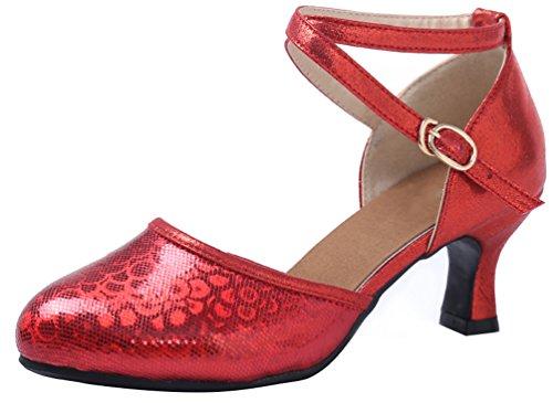 Abby 593 Donna Latino Tango Cha-cha Salsa Rumba Matrimonio Punta Chiusa Metà Tacco Affascinante Paillettes Glitter Accogliente Cinturino Alla Caviglia Scarpe Da Ballo Rosso
