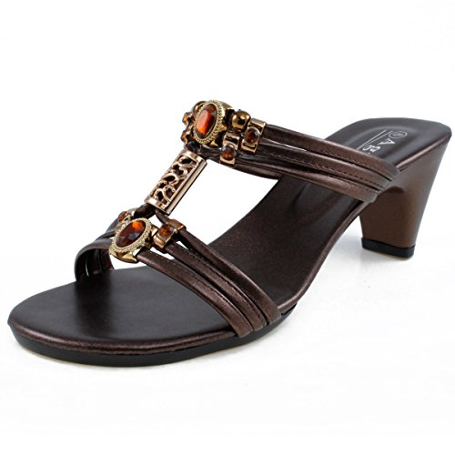 - Agape WENDI-23 Jeweled Sandal Heel Bronze 9