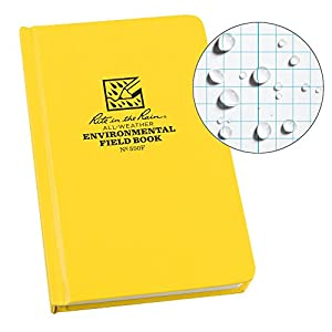 Rite in the Rain Weatherproof Hard Cover Notebook, 4.75″ x 7.5″, Yellow Cover, Environmental Pattern (No. 550F)