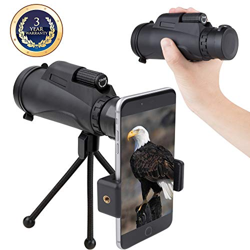 Monocular Telescope Dual Focus Prism Night Vision Waterproof dustproof Shockproof Scope for Bird Watching, Camping, Outdoor Hunting