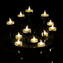 AGPTEK 24pcs Warm White Flickering Flameless LED Tealight Candles with Timer Function (Auto 6 Hour on and 18 Hour Off After Turing On) for Wedding/Party Decorations