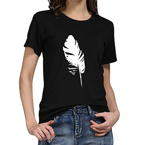 TWGONE Fashion Women's Loose Short-Sleeved Leaf Print T-Shirt Casual O-Neck Top(Small,Black-i)
