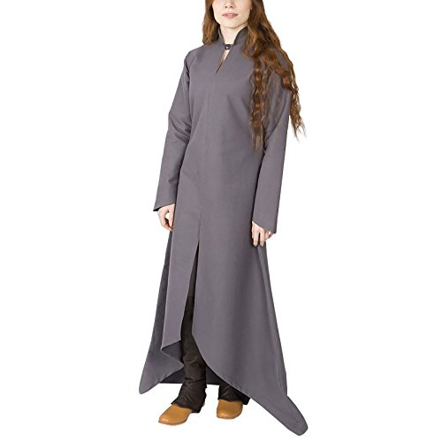 Gewand Damen Kleid Ranwen Baumwolle Mittelalter Burgschneider Grau Langarm wSRqW7E