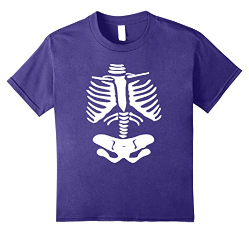Kids Halloween Skeleton Rib Cage Xray Jumbo Print Easy Costume 10 Purple
