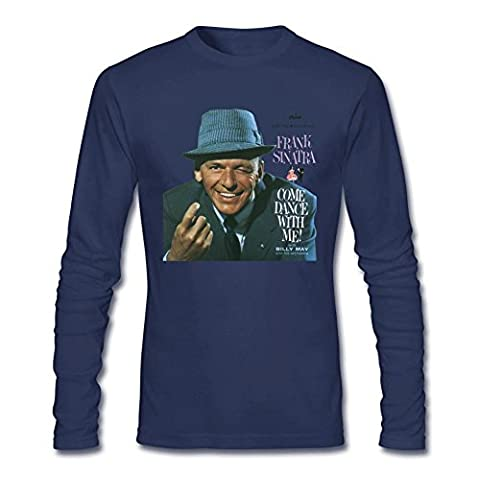 SaXiMi Men's Frank Sinatra Come Dance With Me Long Sleeve T shirts Size L Royal Blue (What Did Kanye)