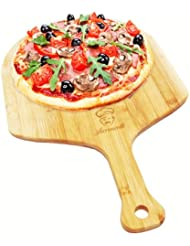 "Lorrenzetti Bamboo Pizza Peel. Easily Slide Pizzas Into Your Oven. 19.7"" x 11.8"" Large Paddle. Beveled Edge For Smooth Grip. Made With Non Split, Anti Bacterial, Ethically Sourced Bamboo."