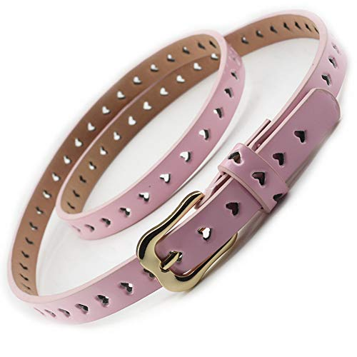 Women Fashion Hollow Heart PU Leather Dress & Jeans Thin Waist Belt for Girls and Ladies Gold Color Buckle (Pink)