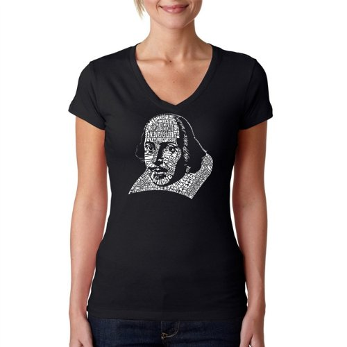 Women's Word Art V-Neck T-Shirt - The titles of all of William Shakespeare's Comedies & Tragedies Black - Www William