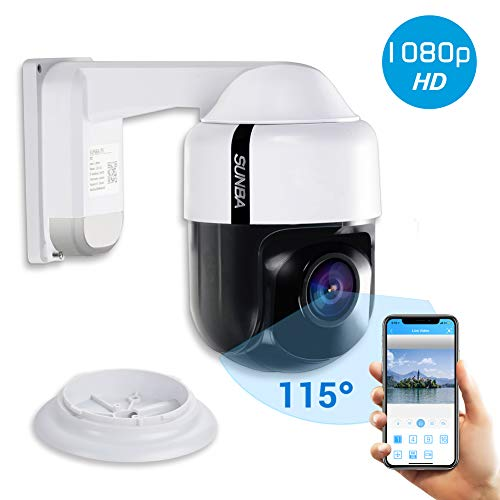 SUNBA 305-D4X PTZ PoE+ 1080p Mini IP Security Camera with Built-in Audio, 4X Optical Zoom, Auto Focus, Indoor/Outdoor and Night Vision up to 150ft ()