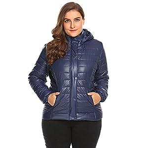 Zeagoo Women's Plus Size Waterproof Outdoors Casual Lightweight Hooded Down Puffer Coat Jacket (16W-24W)