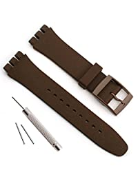 Replacement Waterproof Silicone Rubber Watch Strap Watch Band for Swatch (17mm 19mm 20mm) (17mm, Coffee)