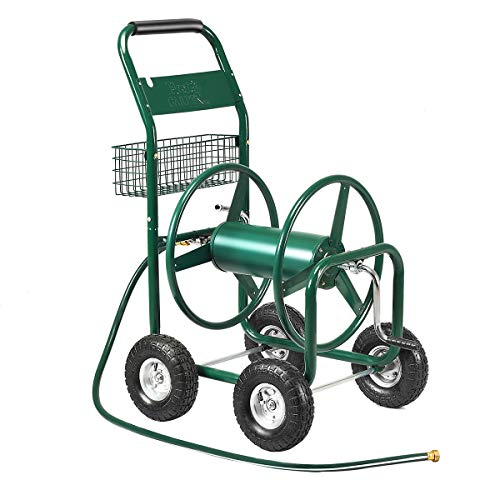 Giantex Garden Hose Reel Cart 4-Wheel Lawn Watering Outdoor Heavy Duty Yard Water -