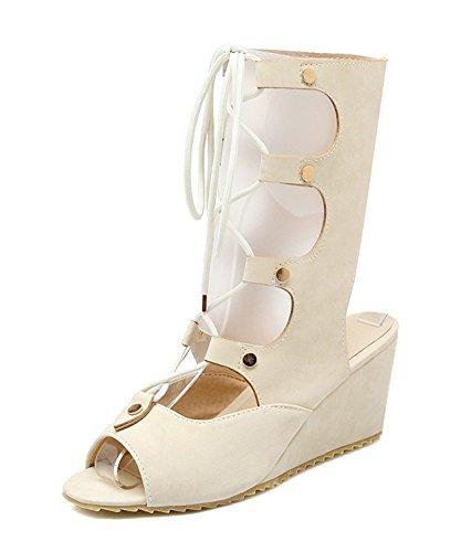 Spartiates Peep Chaussures Élégant Coin Lacets Coupé Femmes Toe Aisun Beige YnAaUn