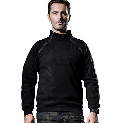 FREE SOLDIER Outdoor Base Zip Pullover Fleece Coats Tactical Fleece Jacket (Black, Small)