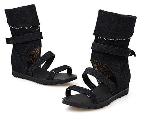 Aisun Plat Bottes Sandales Plage Talon Ouvert Noir Femme Mode Jean Bout rq1rTBx