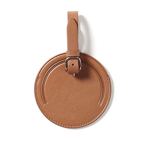 Small Round Luggage Tag - Full Grain Leather - Cognac (brown) (Bag Leather Round Tags)