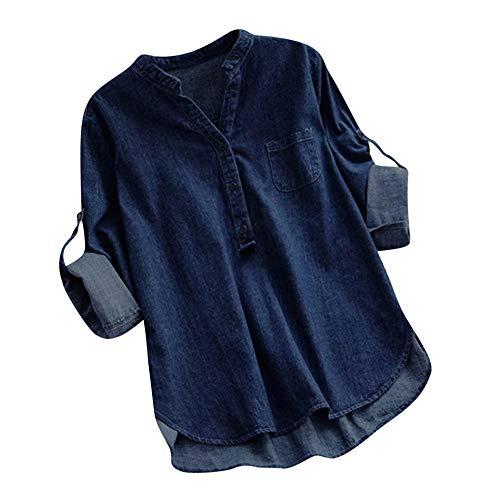 Ninasill Clearance!Denim Asymmetrical Hem Long Sleeve Buttons Pocket Tops Blouse(Dark Blue,Asian XL = US L) ()