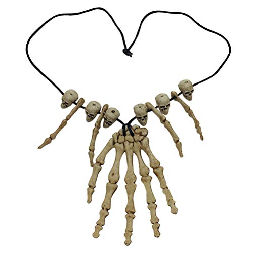 Amosfun Skull Pendant Necklace Skeleton Head Hand Bone Charm Cosplay Fancy Party Jewelry (Bone Pendant Necklace)
