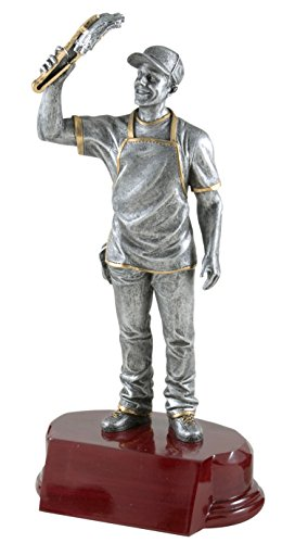 (Decade Awards BBQ Chef Resin Trophy | King of The Grill Award | 7.25 Inch Tall - Free Engraved Plate on Request)