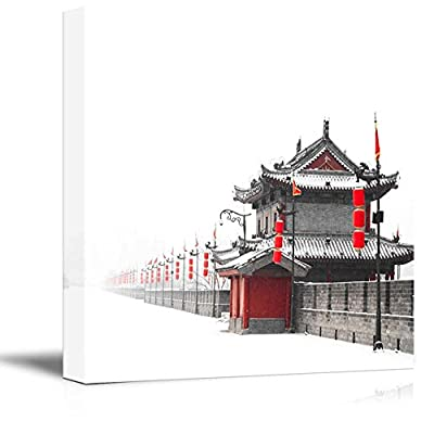Stunning Expert Craftsmanship, Black and White Photograph with Pop of Red on Chinese Lanterns, it is good