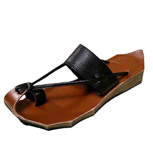 Mordenmiss Kvinna Läderskor Sommar Tillfälliga Sandaler Stil 1-brun