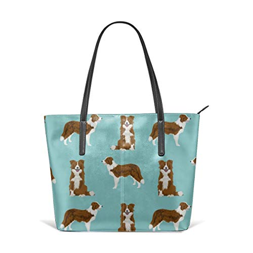 (Border collie red coat dog breed pet friendly gifts for collie lovers Leather Tote Large Purse Shoulder Bag Portable Storage HandBags)