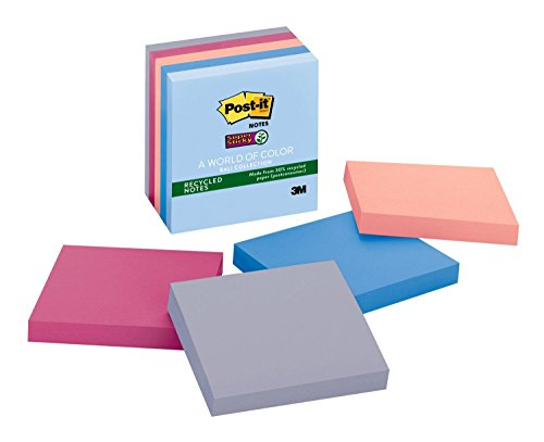 Post-it Recycled Super Sticky Notes, 2x Sticking Power, 3 in x 3 in, Bali Collection, 5 Pads/Pack (654-55SNRP)
