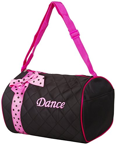 Private Label Girl's Quilted Nylon Dance Duffle Bag with Pink Polka Dot Bow, Black - Lil Zip Bag
