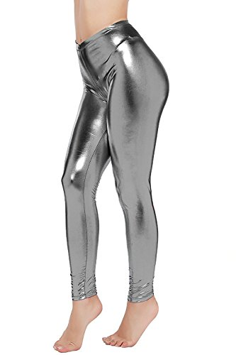 Abyelike Womens Sexy Shiny Faux Leather Leggings Wet Look Metallic Waist Legging Pants Trousers,Grey,XL