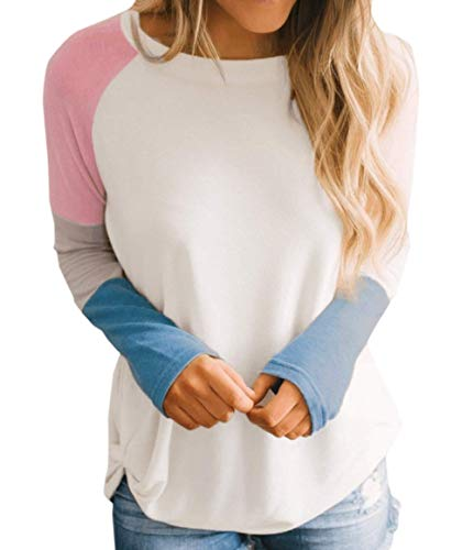 Blouses Mode Tee Casual Tops Col Hauts Rond Shirt Pulls Chemises Chemisiers Printemps Jumpers Sweat Femmes Shirts Patchwork Longues Manches T Automne twqtHxAP