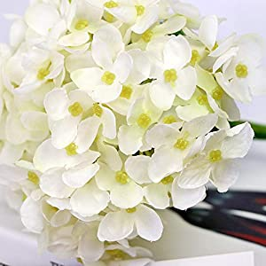 123 TEST 4PCS Artificial Flowers Plastic Silk Artificial Fake Hydrangea Flowers Silk Bouquet for Wedding, Room,Home, Hotel,Party,Office, Garden Craft Art Decoration (White) 4