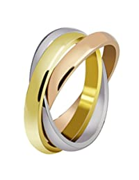 Stainless Steel Tri color Gold,Rose,Silver Tone Interlocked Rolling Wedding Band Ring for Women