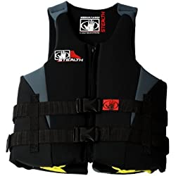 Body Glove Men's Stealth U.S. Coast Guard Approved Neoprene Pfd Life Vest (Black/Charcoal, X-Large/XX-Large)