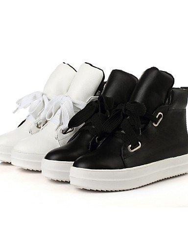 Black Cn3 Plataforma Botas Casual Redonda White Uk6 Uk4 Xzz La Cn36 us8 Zapatos Blanco Negro Vestido Semicuero A De Eu39 Eu36 Punta Cn39 Mujer Moda us6 RtPt1Fwq