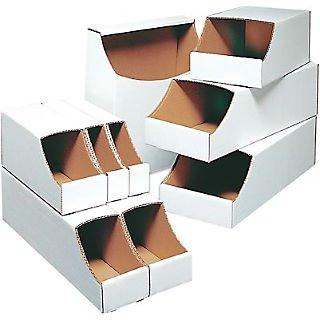 Corrugated Bin Shelving - B O X Packaging Stackable Corrugated Parts Bin Box for 12