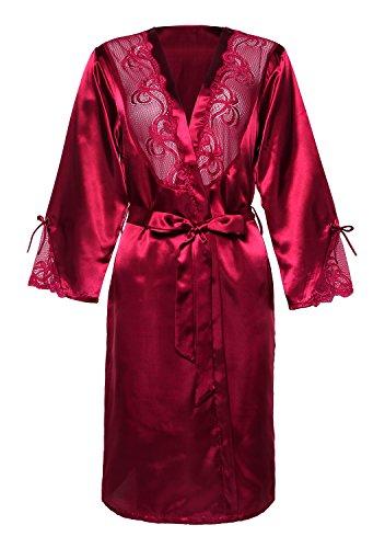 BellisMira Women's Long Satin Robe Bridal Kimono Lace Pajamas Sleepwear Robe ONLY Size up Violet Red,XL