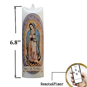 Amazon.com: Religious Flameless Prayer Candle Our Lady of Virgen ...