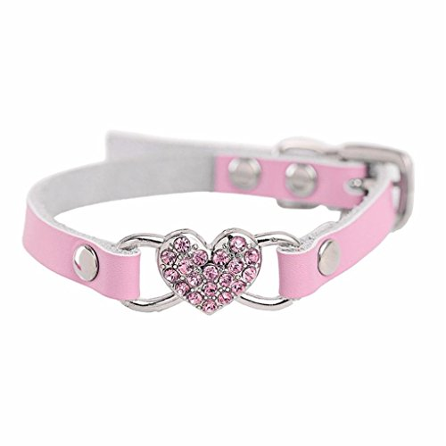 haoricu Doggy Collar, Small Dog Pet Puppy Cat Collar Rhinestone Crystal Necklace Jewelry Collar for Dog Collar Chiens Colliers Heart Leather XXS (XXS, Pink)