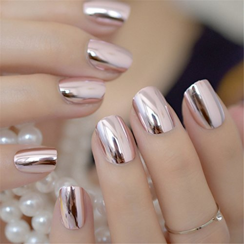 Mirror Silver False Nails STILETTO Point Metallic Acrylic Nail Tips 24Pcs/Kit Easy For Daily Wear Light pink